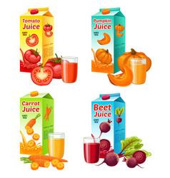 bright fresh vegetable juices set vector image