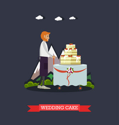 Wedding cake in flat style vector