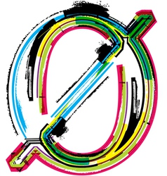 Grunge colorful font Number 0 vector image