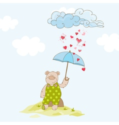 Baby bear with umbrella - baby shower card vector