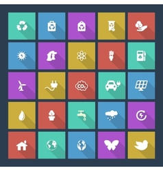 Set of colored ecology icons on square background vector