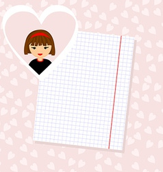Love Letter Portrait of Girl in Heart Background vector image