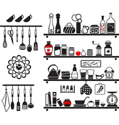Black food and drinks icons set vector