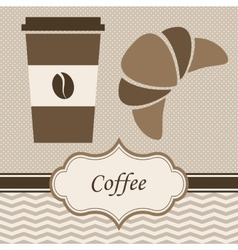 Coffee and croissant vector