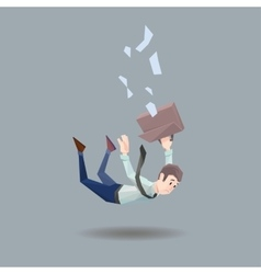 Man in office wear falls from a building on flat vector