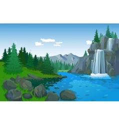 Beautiful landscape with waterfall vector