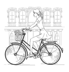 Girl bicyclist in Paris vector image