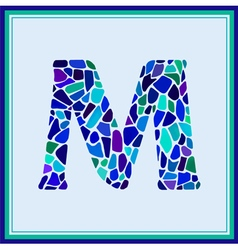 M - letter - green watercolor mosaic vector