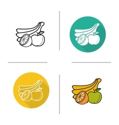 Fruits flat design linear and color icons set vector image