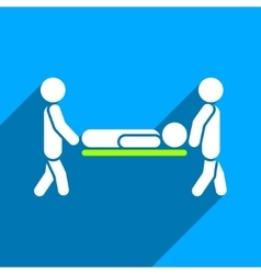 Medics carry the patient flat square icon with vector