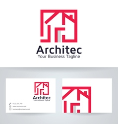 Architect house logo with business card tem vector