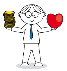 Man choosing between love and money vector