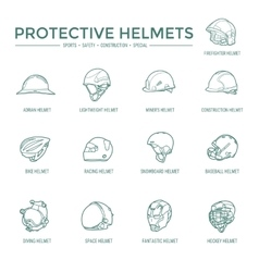 Protective helmets icons vector