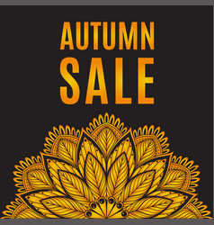 autumn sale orange black poster with mandala vector image vector image