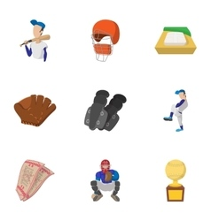 Baseball icons set cartoon style vector