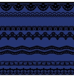 Black and blue lace seamless stripes pattern vector