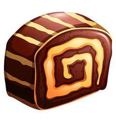 Cake roll chocolate and vanilla flavor vector