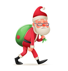cartoon vintage walk tired sad weary santa claus vector image
