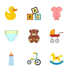 Child icons set flat style vector