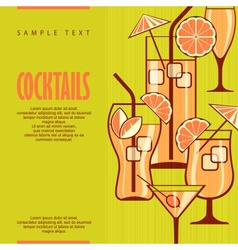 Cocktails set on green vector image