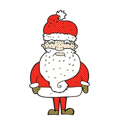 Comic cartoon grumpy santa claus vector