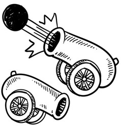 Doodle cannon ball vector