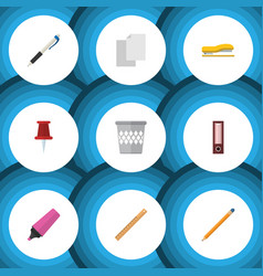 flat icon stationery set of trashcan straightedge vector image vector image
