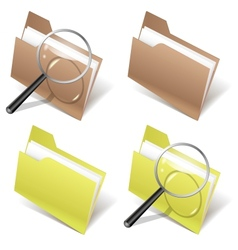 Folder and magnifier vector image vector image