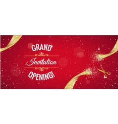 Grand opening red banner with golden splashes vector image
