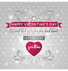 grey background with red valentine heart vector image vector image