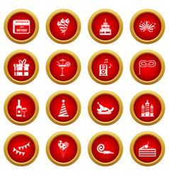 Happy birthday icon red circle set vector