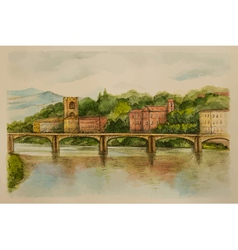 Italy florence watercolor views of the river and c vector