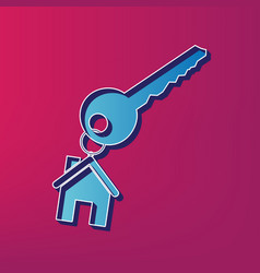 Key with keychain as an house sign blue vector