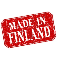 made in Finland red square grunge stamp vector image vector image