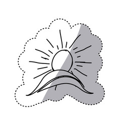 monochrome contour sticker with hand drawn sun vector image vector image