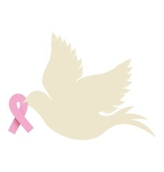 Pigeon wiht ribbon of breast cancer in the peak vector