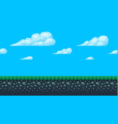 pixel art seamless background with sky and ground vector image vector image