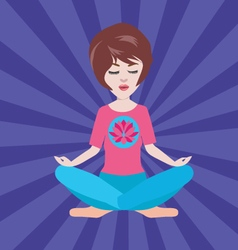 Pretty girl meditates in the yoga lotus position vector