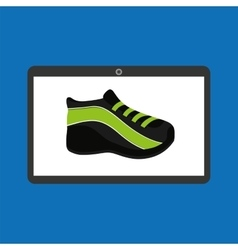 Sport laptop app concept sneaker run vector