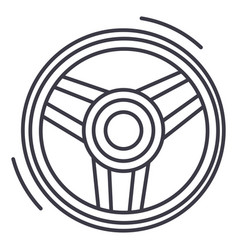 steering wheel line icon sig vector image