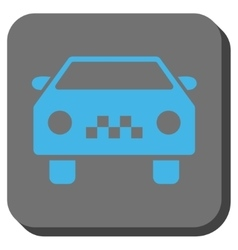 Taxi car rounded square button vector