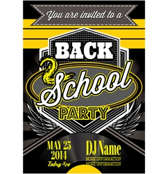 template for a retro party back to school vector image vector image