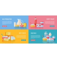 Traditional Dairy Products Banners Set vector image vector image