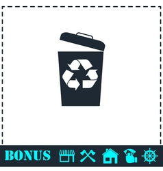 Trash bin icon flat vector