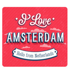 vintage greeting card from amsterdam vector image