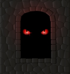 Darkness stone wall and red eyes vector