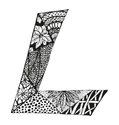 Vintage monogram L Doodle alphabet character with vector image