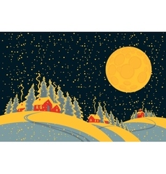 winter night landscape with village vector image