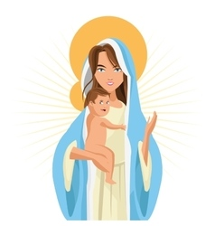 Holy mary baby jesus icon graphic vector