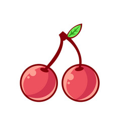 Two cherries with leaf food item outlined vector